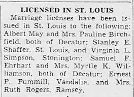 Samuel Ehrhart to wed Myrtle Williamson In St. Louis - Newspapers.com