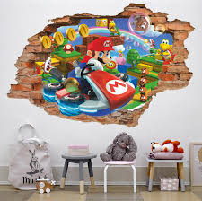 Super Mario Kart 3d Wall Decal Wall Sticker Removable Vinyl Etsy In 2020 3d Wall Decals Art Wall Kids Kids Room Wall Art