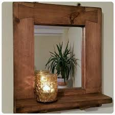 wooden wall mirror with shelf natural