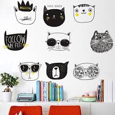 Literary Cat Decals Kids Room Vinyl Wall Stickers Animal Decor Home Nursery Removable Kids Decorations Baby Crib Mural Amagicalshop On Artfire