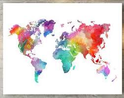 Watercolor Map Etsy