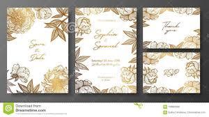 Sistema De Oro Y De Invitaciones De Boda Blancas Con Las Peonias Plantillas Florales De Las Tarjetas Del Oro Para La Reserva La F Ilustracion Del Vector Ilustracion De Hoja Elementos