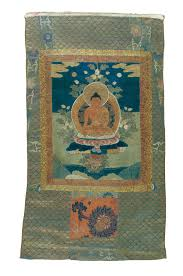Thangka of Ratnasambhava, Tibet, 18th century. Appliqué and embroidered  Chinese textiles. The Sam and Myrna Myers Collection. Photo by Thierry Ol…  | Spring, Thierry