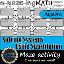 substitution maze worksheets teaching