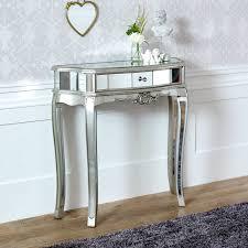 ornate mirrored half moon console table