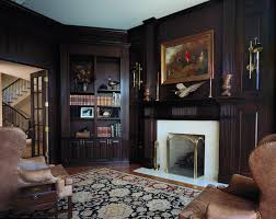 dark stained millmade cherry library
