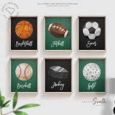 Boys Room Sports Decor Basketball Baseball Football Soccer Wall Art Posters Athletic Kid Room Sports Theme Gift For Boy Nursery Sports