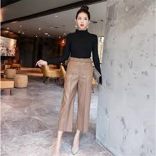 flat women pu leather pants autumn high