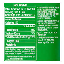 sprite label nutrition facts
