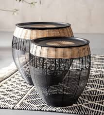 african drum coffee table set of 2