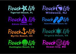 Beach Life Customizable Decal Beach Lover Car Window Vinyl Sticker Custom Vinyl Decal Beach Life Computer Decal