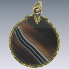 banded agate double sided pendant