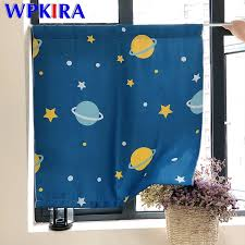 Cartoon Outer Space Planet Curtain For Kids Bedroom Blue Small Curtain For Kitchen Short Window Panel For Cabinet Door Dwp355d3 Curtains Aliexpress