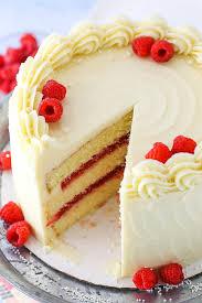 easy vanilla cake with raspberry filling