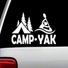 Amazon Com Best Design Amazing Camp Yak Girl Camper Kayak Decal Sticker For Car Window Camper Trailer And Stick Decals Made In Usa Kitchen Dining