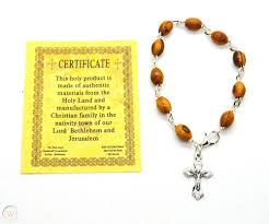 olive wood cross rosary beads bracelet