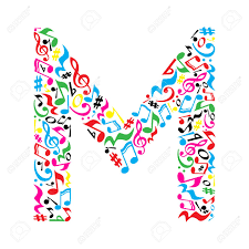 M Letter Made Of Colorful Musical Notes On White Background ...
