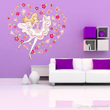 Colorful Flowers Around Dancing Girl Wall Decal Stickers Fashion Girl Wall Poster For Girls Room Princess Room Living Room Bedroom Pvc Art Decals For Walls Quotes Decals On Walls From Magicforwall 6 03