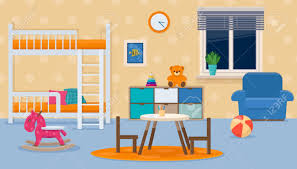 Kids Room With Neutral Colors Childrens Bedroom Interior With Royalty Free Cliparts Vectors And Stock Illustration Image 141277595