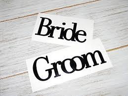 Amazon Com Bride And Groom Vinyl Decal Set Style 1 Diy Wedding Engagement Shower Gift Pick Color Handmade