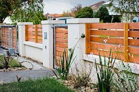 Horizontal Wooden Boards Stucco Columns Fencing Pinterest Wood Fence Design Fence Design Modern Fence