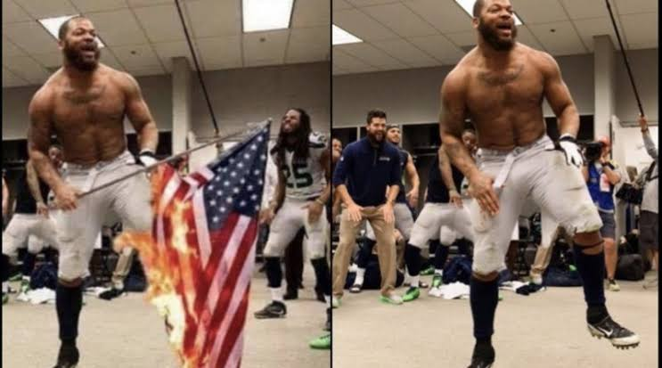 Image result for michael bennett in a fake picture with burning american flag