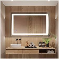 lighted vanity bathroom mirror with