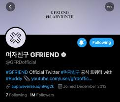 "amy | myra day ♡ on Twitter: ""GFRIEND HAS OFFICIALLY REACHED 1M FOLLOWERS  ON TWITTER 😭💗 #GFRIEND1MILLION #1MTwitterBuddies #回_LABYRINTH 500k in  2017 1M in 2020… https://t.co/IqMI5hs9pK"""