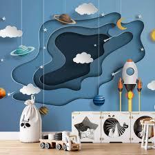 Paper Wallpaper 368x254cm Nursery Photo Wall Mural For Kids Bedroom Space 3d Ebay