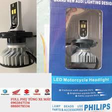 Đèn pha led 4 tim Philip 60W siêu sáng dùng điện máy và điện bình xe máy ô  tô