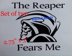 Grim Reaper Mini Decals 2the Reaper Fears Me Car Truck Suv Vinyl Window Sticker Ebay