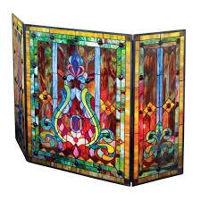 fireplace screen fleur de lis metal