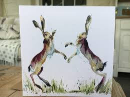 boxing hares art card coast country art
