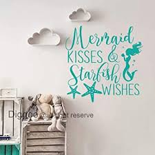 Amazon Com Quote Wall Decals Mermaid Kisses And Starfish Wishes Decal Mermaid Wall Art Sticker Girls Room Decor Teal 22 H X 22 W Furniture Decor