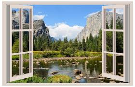 Valley View Yosemite 3d Window View Decal Wall