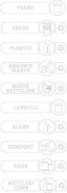 Rubbermaid Trash Can Decal Message Landfill Trash Mixed Recycling Cans Bottles Cans Plastic Glass Paper Organic Waste Compost 38582623 Msc Industrial Supply
