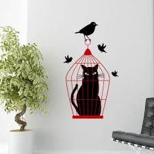 Cat In A Bird Cage Wall Decal Sticker Decal The Walls