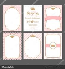 Pink And Gold Baby Shower Invitation Templates Set Cute Pink