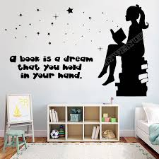 Book Kids Books Wall Decal Quote A Book Is A Dream Reading Room Book Shop Library Wall Sticker Vinyl Kids Room Decor Mural Z848 Wall Stickers Aliexpress