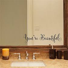 Yingkai You Re Beautiful Quote Mirror Decal Vinyl Decal Living Room Vinyl Carving Wall Decal Sticker For Home Window Decoration Walmart Com Walmart Com