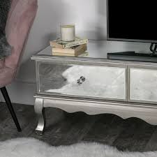 large mirrored glass ottoman tv unit