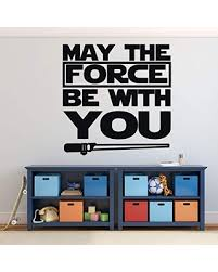 Amazing Deal On Star Wars Lightsaber Vinyl Wall Decal May The Force Be With You Quote Lettering Vinyl Sticker Decor For Child Or Adult Bedroom Living Room Black White