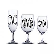 Diy Vine Monogram Decal One Or Three Initial Sticker Decal Monogram Letter Sticker Wine Glass Decals Bridesmaid Gifts Monogrammed Wine Glass 2428074 Weddbook