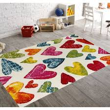Shop Kc Cubs Carpet Collection For Kids Colorful Hearts Boy And Girl Bedroom Modern Decor Area Rug On Sale Overstock 15974168 3 11 X 5 3 White