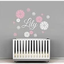 Amazon Com Custom Flowers Name Wall Decal Girls Kids Room Decor Nursery Wall Decals Flower Decals For Girls Room 40wx32h Baby