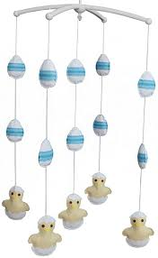 Amazon Com Panda Legends Handmade Baby Crib Mobile Cute Chicken And Eggs Baby Musical Mobile Kids Room Decor Yellow Blue Home Kitchen