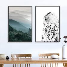 Nordic Forest Poster Black And White Owl Wall Art Canvas Painting Art Posters And Prints Wall Pictures For Living Room Frameless Wallcorners Art Canvas