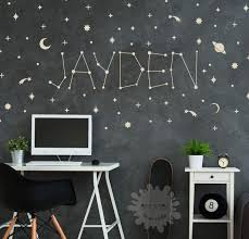 Amazon Com Space Name Wall Decal Custom Name Sticker Personalized Stars Baby Name Decal Kids Name Galaxy Constellation Boys Room Zodiac Handmade