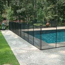 Removable Pool Fence With Lock In Deck Posts Protect A Child Fence Around Pool Removable Pool Fence Backyard Pool Landscaping