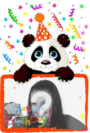 Postal Para Felicitacion De Cumpleanos De Un Oso Panda Fotoefectos